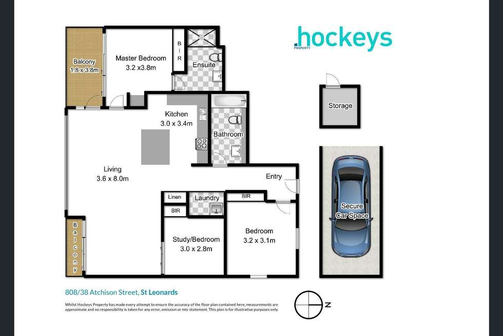 Floorplan of Homely apartment listing, 808/38 Atchison Street, St Leonards NSW 2065