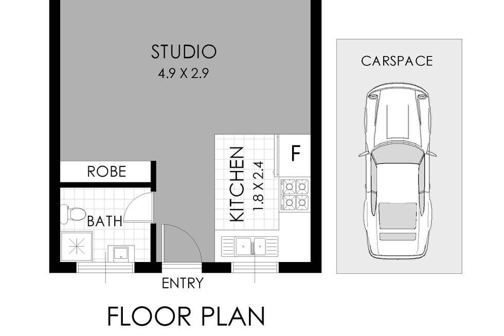 Floorplan of Homely studio listing, 28/4 Bank Street, Meadowbank NSW 2114