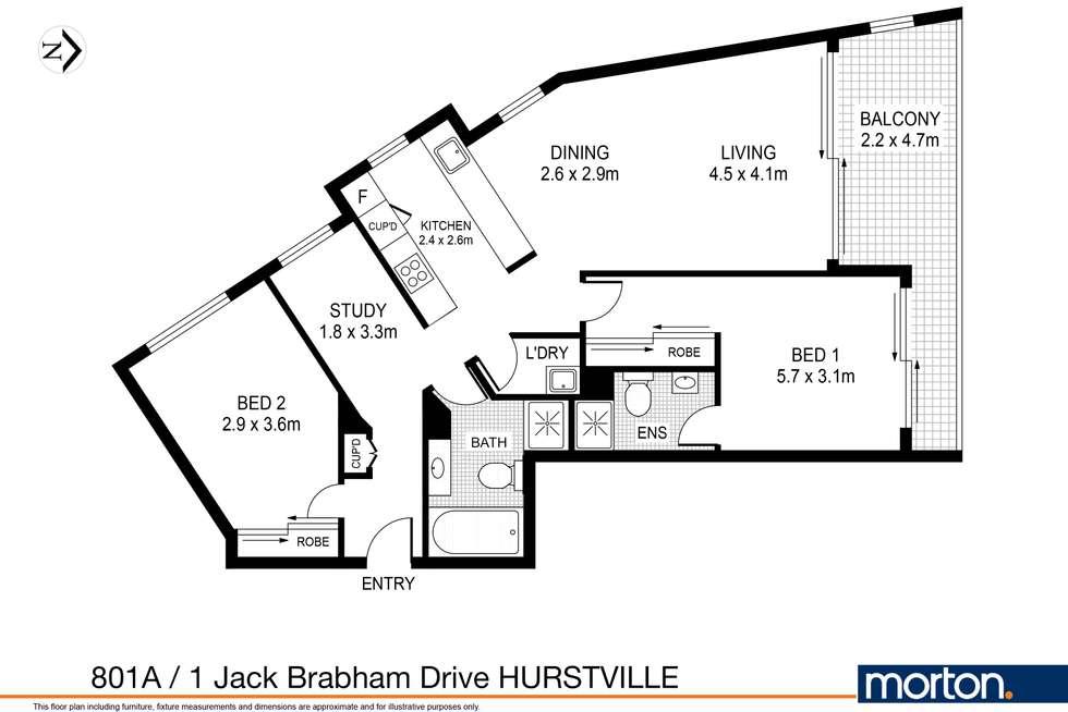 Floorplan of Homely apartment listing, 801A/1 Jack Brabham Drive, Hurstville NSW 2220