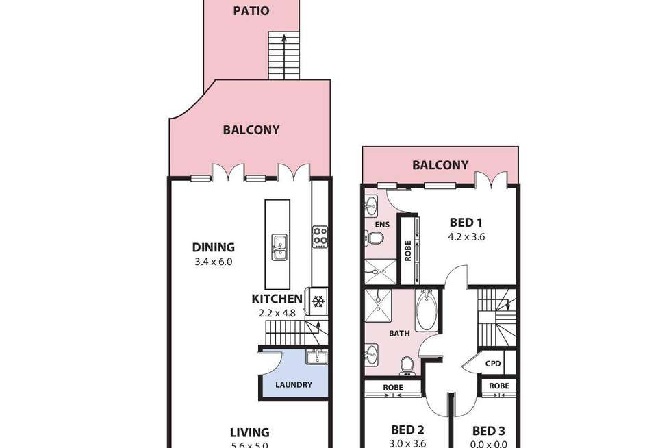 Floorplan of Homely townhouse listing, 9/24 Fisher Street, West Wollongong NSW 2500