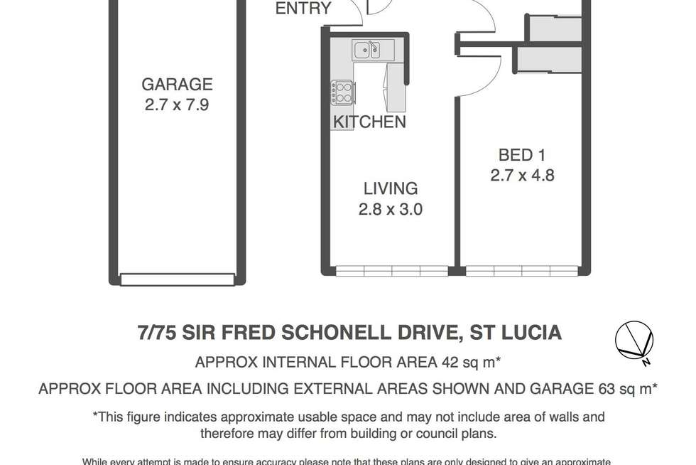 Floorplan of Homely unit listing, 7/75 Sir Fred Schonell Drive, St Lucia QLD 4067