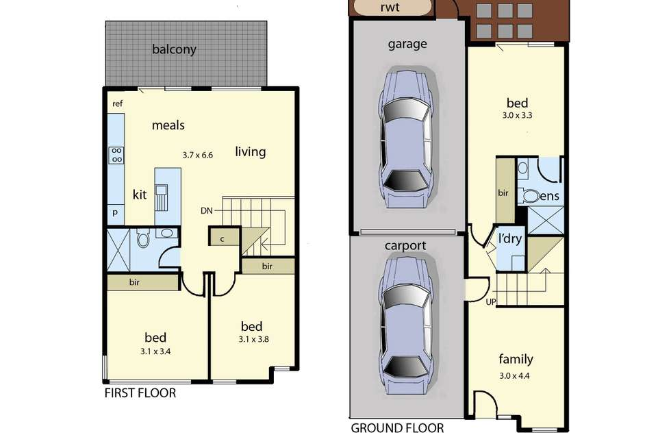 Floorplan of Homely townhouse listing, 2/297 Station Street, Chelsea VIC 3196