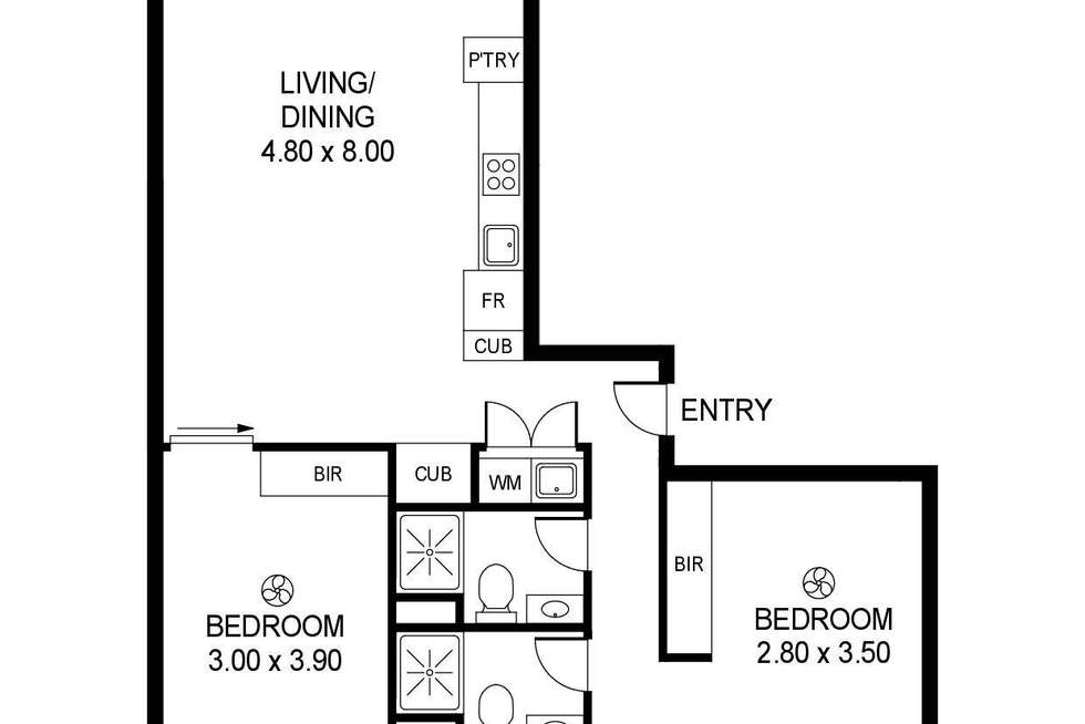 Floorplan of Homely apartment listing, 201/14 Sixth Street, Bowden SA 5007
