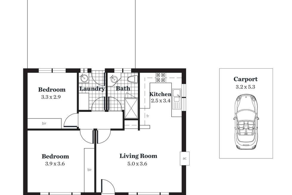 Floorplan of Homely unit listing, 1/30 Bakewell Road, Evandale SA 5069