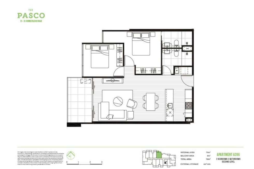 Floorplan of Homely apartment listing, 206A/23-35 Cumberland Road, Pascoe Vale VIC 3044