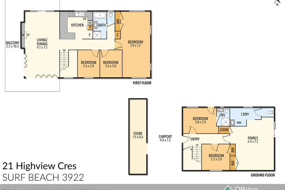 Floorplan of Homely house listing, 21 Highview Crescent, Surf Beach VIC 3922