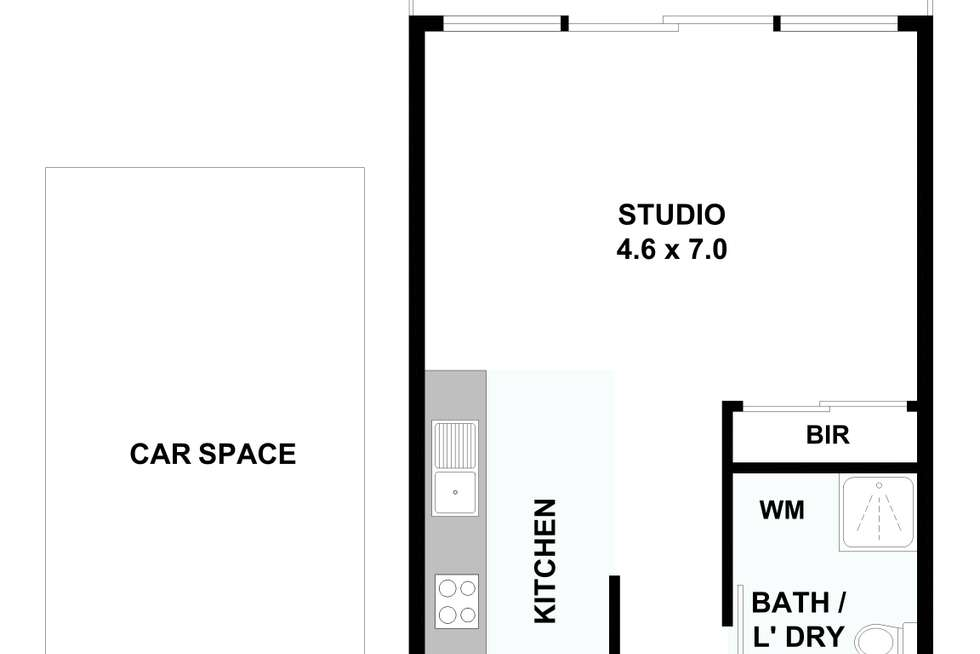 Floorplan of Homely studio listing, 209A/41-43 Stockade Avenue, Coburg VIC 3058