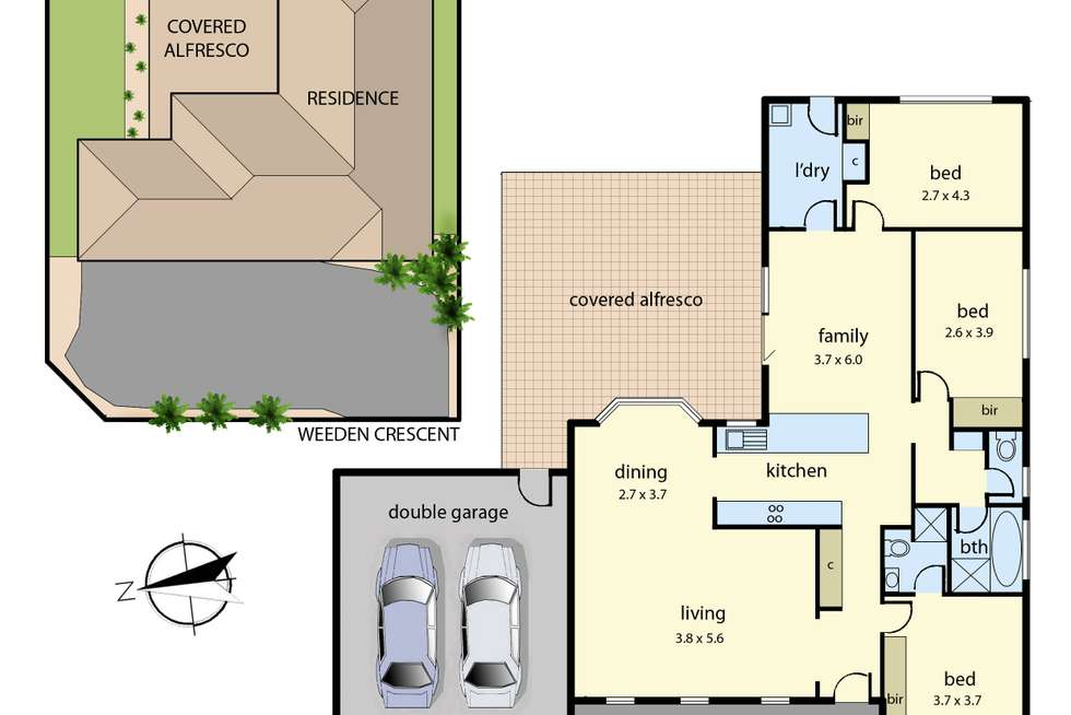 Floorplan of Homely house listing, 2 Weeden Crescent, Hallam VIC 3803