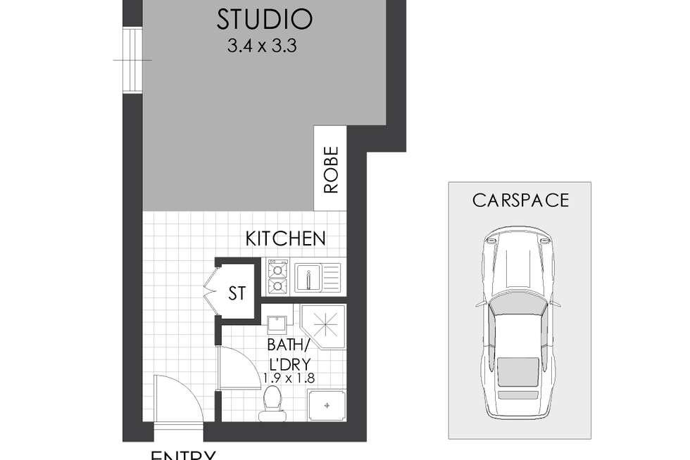 Floorplan of Homely studio listing, 7/2 Macquarie Road, Auburn NSW 2144