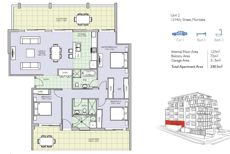 Floorplan of Homely unit listing, 2/13 Hilly Street, Mortlake NSW 2137
