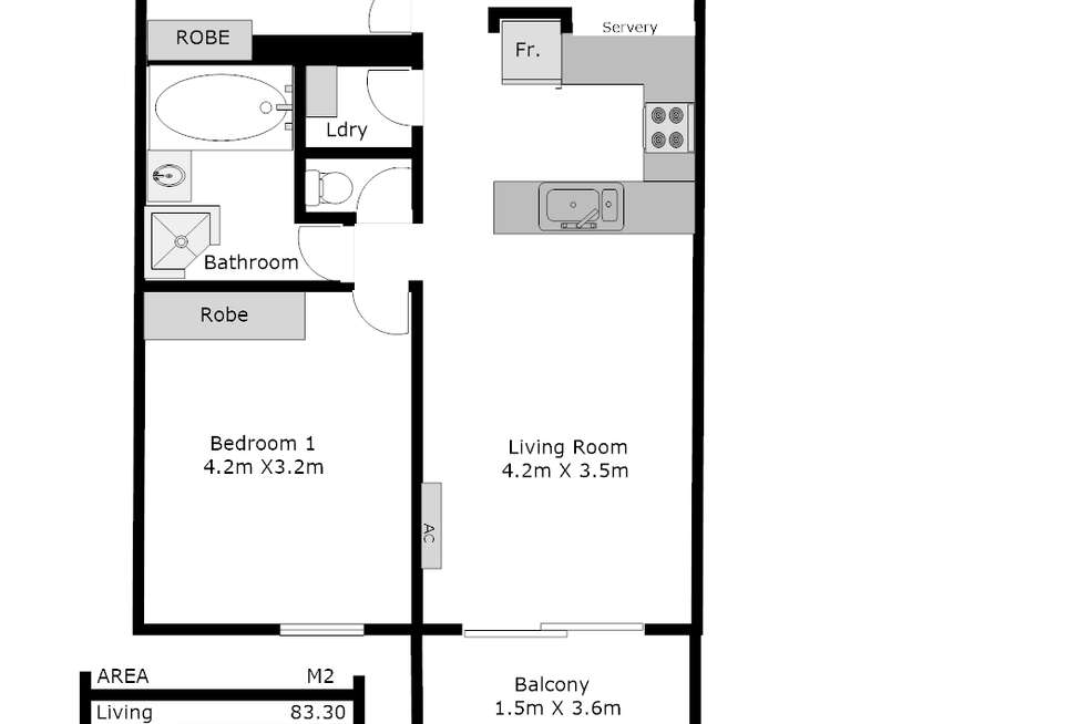 Floorplan of Homely apartment listing, 1/18 Bewes Street, Adelaide SA 5000