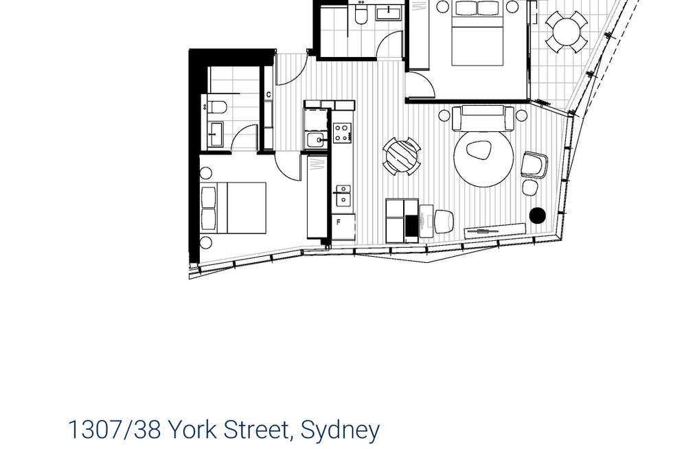 Floorplan of Homely apartment listing, 1307/38 York Street, Sydney NSW 2000