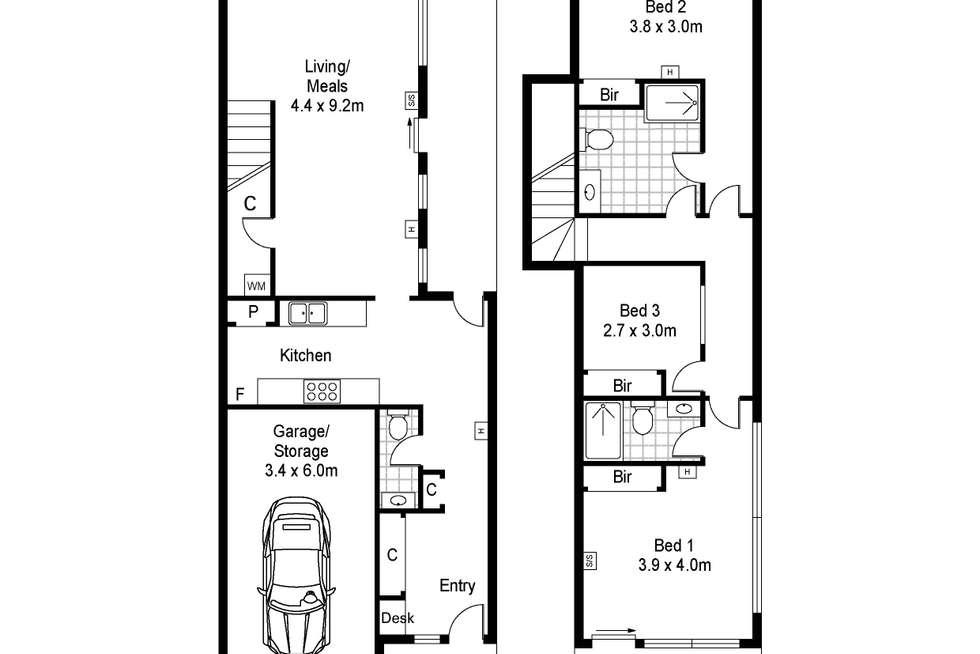 Floorplan of Homely townhouse listing, 30 Clarke Street, Brunswick East VIC 3057