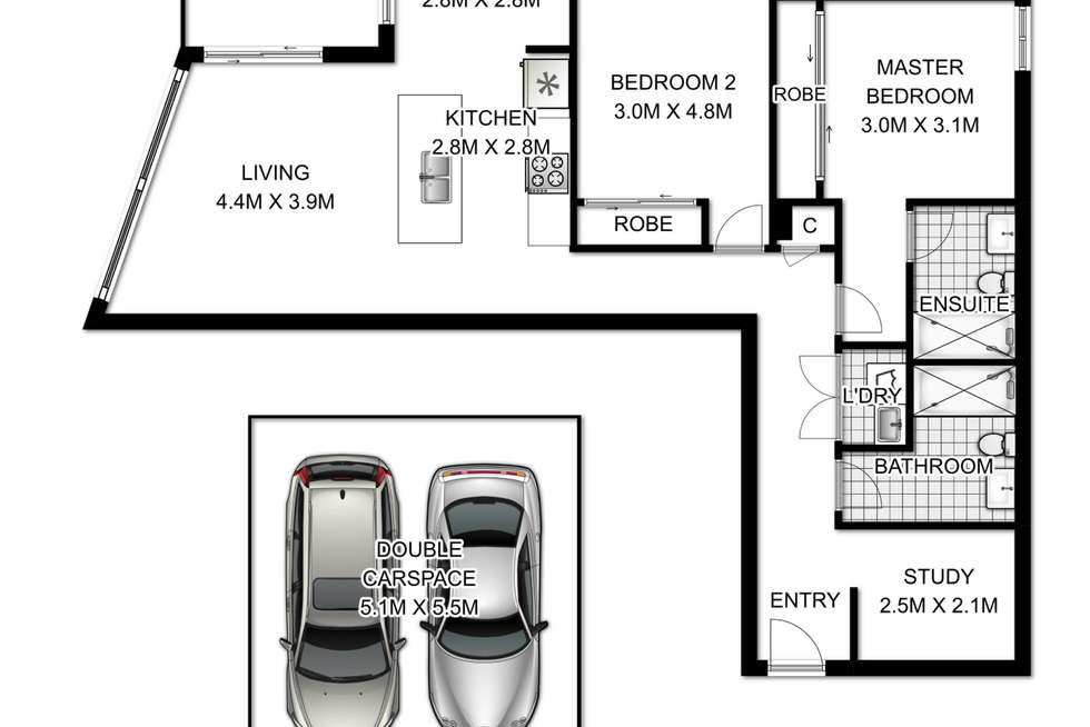 Floorplan of Homely apartment listing, 403/8 Hilly Street, Mortlake NSW 2137