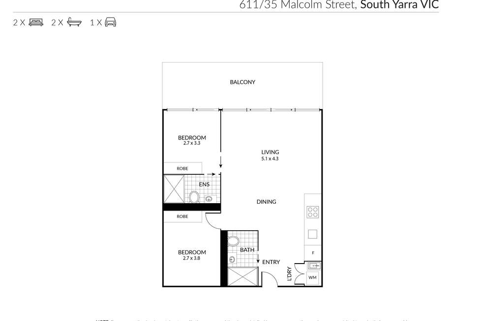 Floorplan of Homely apartment listing, 611/35 Malcolm Street, South Yarra VIC 3141