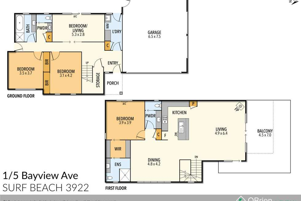 Floorplan of Homely house listing, 1/5 Bayview Avenue, Surf Beach VIC 3922
