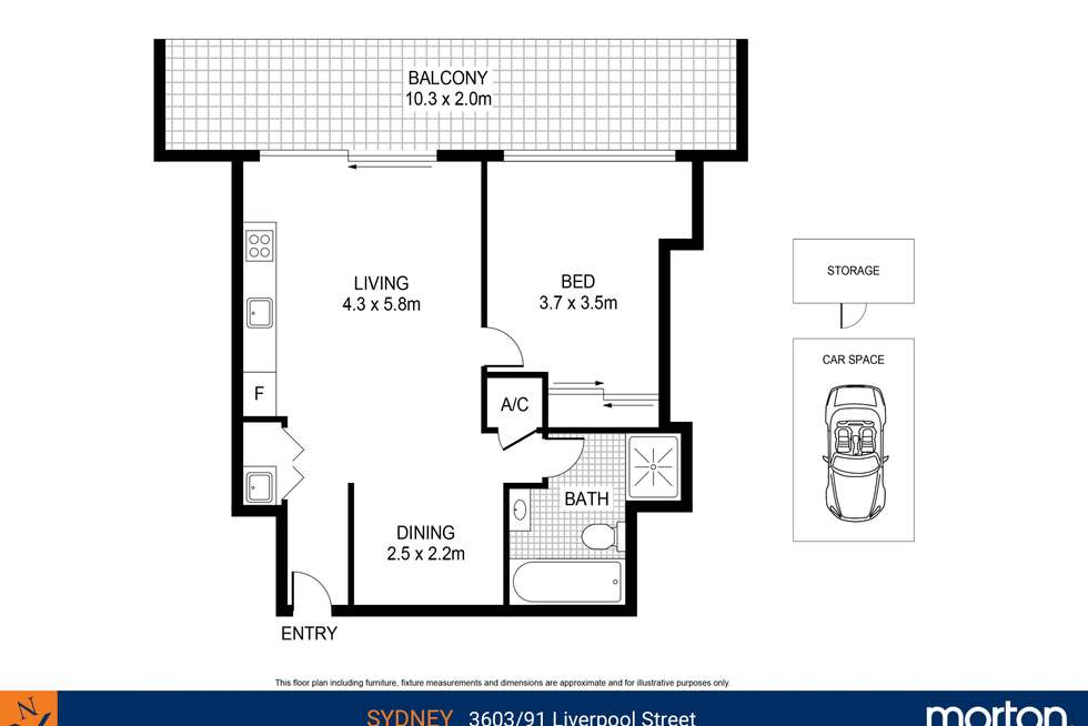 Floorplan of Homely apartment listing, 3603/91 Liverpool Street, Sydney NSW 2000