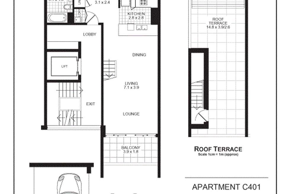 Floorplan of Homely apartment listing, C401/5 Hunter Street, Waterloo NSW 2017