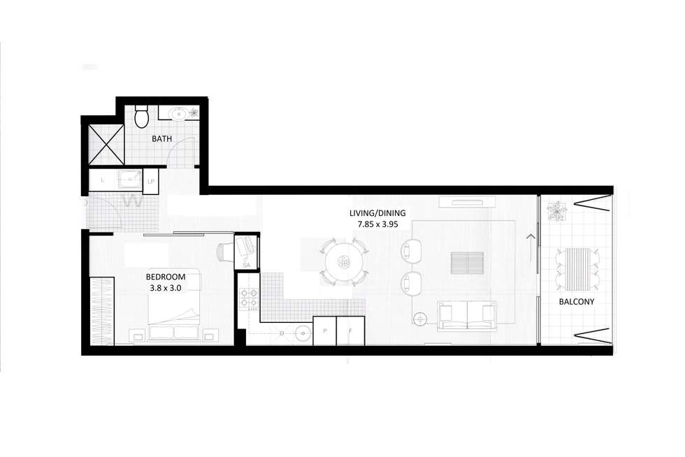 Floorplan of Homely apartment listing, 309/185 Morphett Street, Adelaide SA 5000