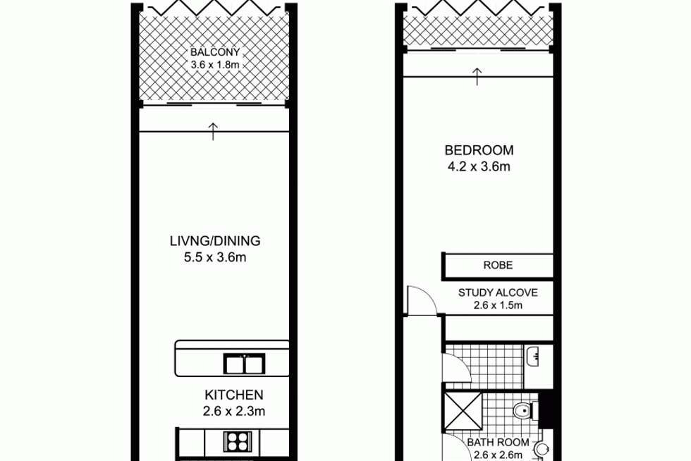 Floorplan of Homely apartment listing, 303/185 Macquarie Street, Sydney NSW 2000