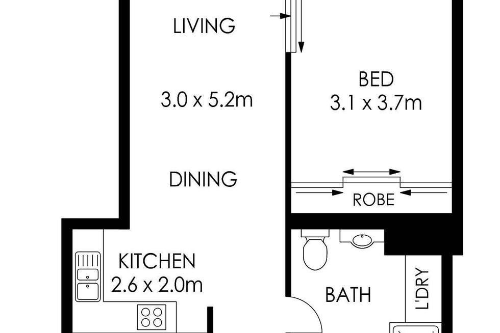 Floorplan of Homely apartment listing, 1211/38 Bridge Street, Sydney NSW 2000