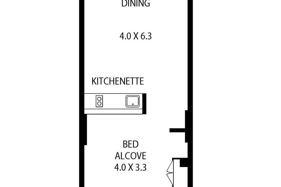 Floorplan of Homely studio listing, 609/45 Shelley Street, Sydney NSW 2000
