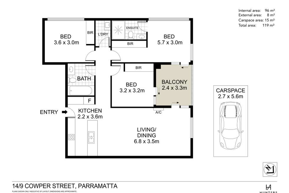 Floorplan of Homely apartment listing, 14/9-11 Cowper Street, Parramatta NSW 2150