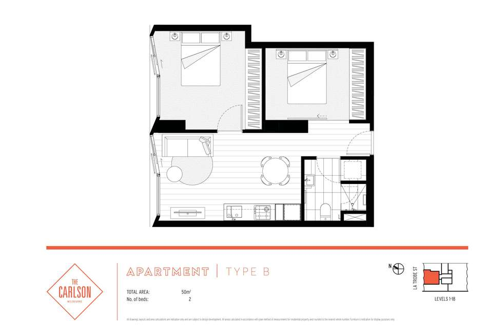 Floorplan of Homely apartment listing, 602/315 La Trobe Street, Melbourne VIC 3000