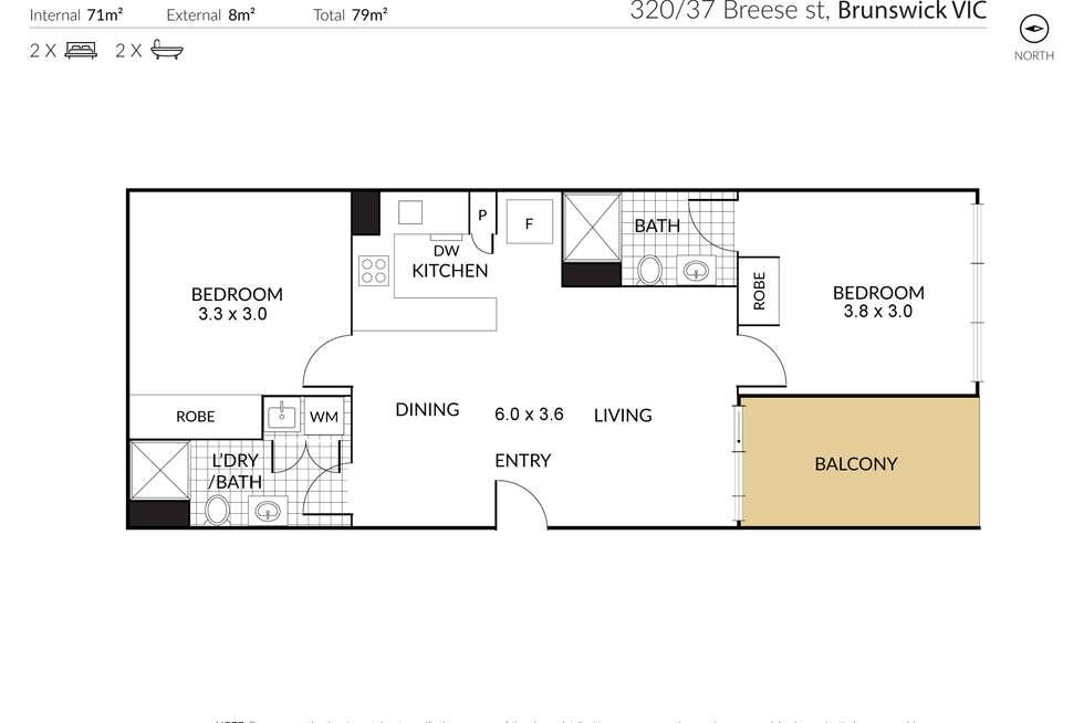 Floorplan of Homely apartment listing, 320/37 Breese Street, Brunswick VIC 3056