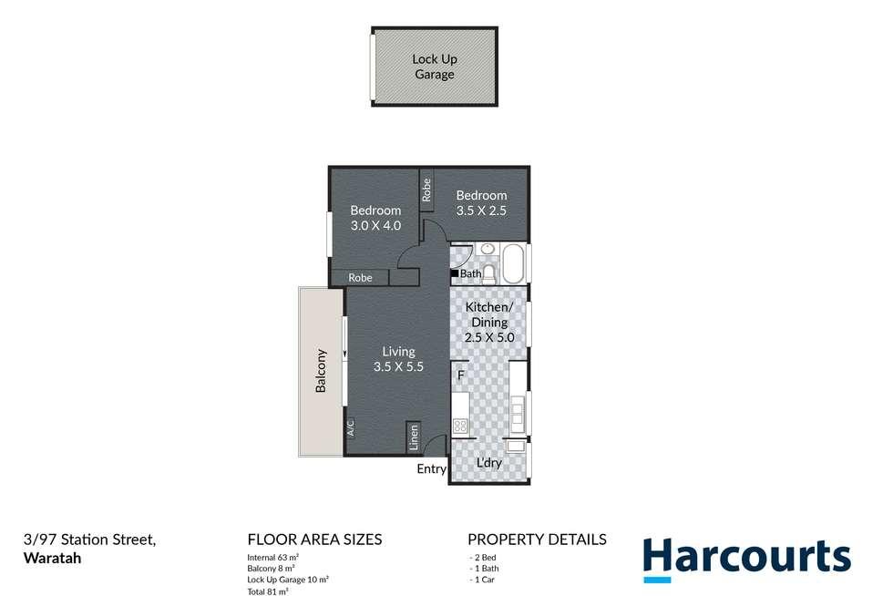 Floorplan of Homely apartment listing, 3/97 Station Street, Waratah NSW 2298