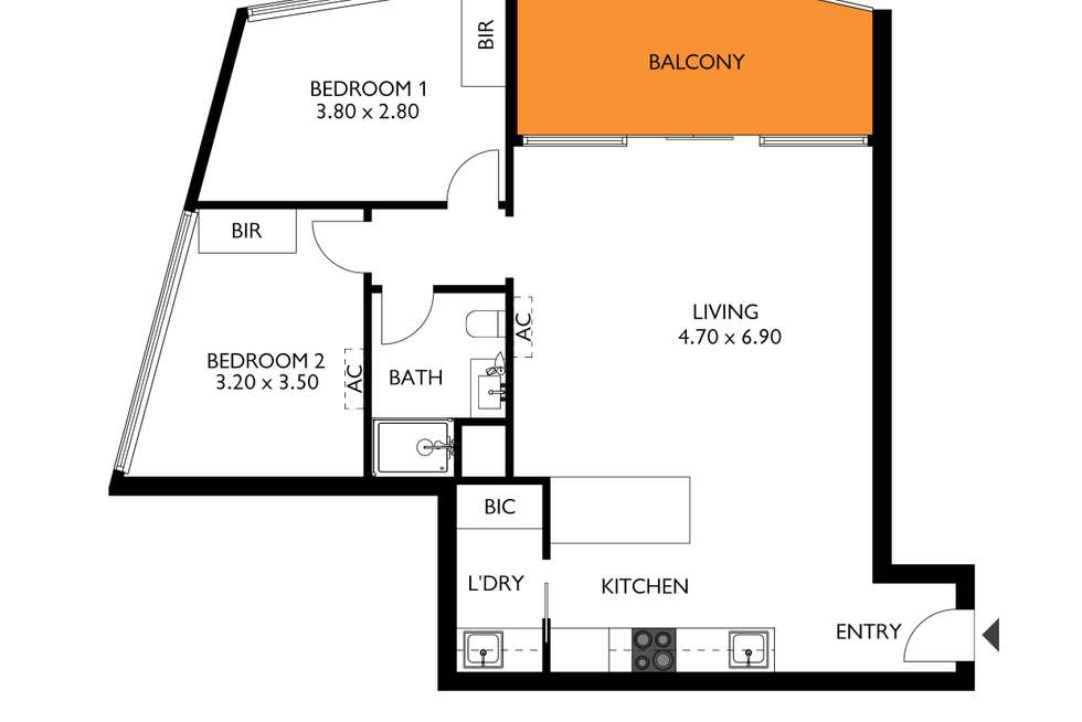 Floorplan of Homely apartment listing, 2210/411-427 King William Street, Adelaide SA 5000