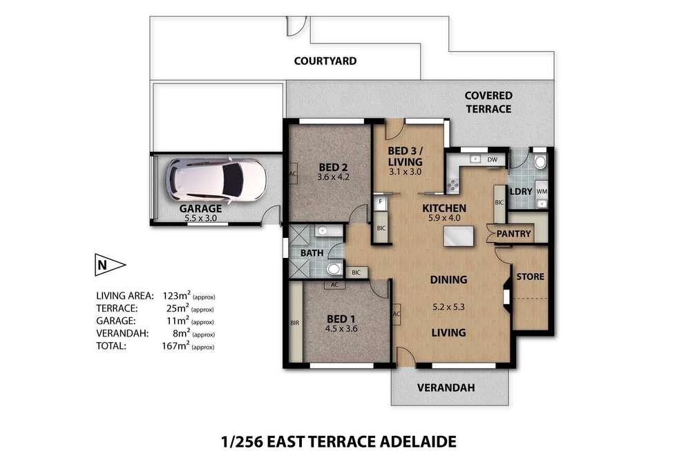 Floorplan of Homely townhouse listing, 1/256 East Terrace, Adelaide SA 5000