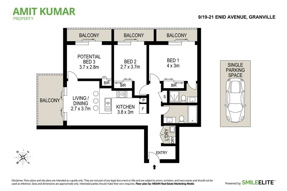 Floorplan of Homely apartment listing, 9/19-21 Enid Street, Granville NSW 2142