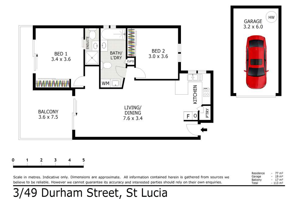 Floorplan of Homely unit listing, 3/49 Durham Street, St Lucia QLD 4067