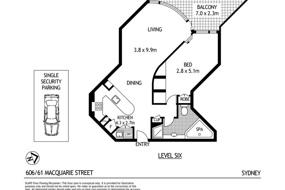 Floorplan of Homely apartment listing, 606/61 Macquarie Street, Sydney NSW 2000