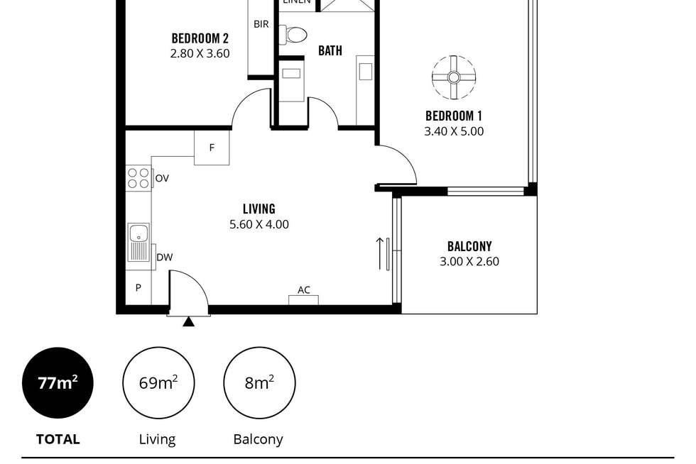 Floorplan of Homely apartment listing, 1407/102 Waymouth Street, Adelaide SA 5000