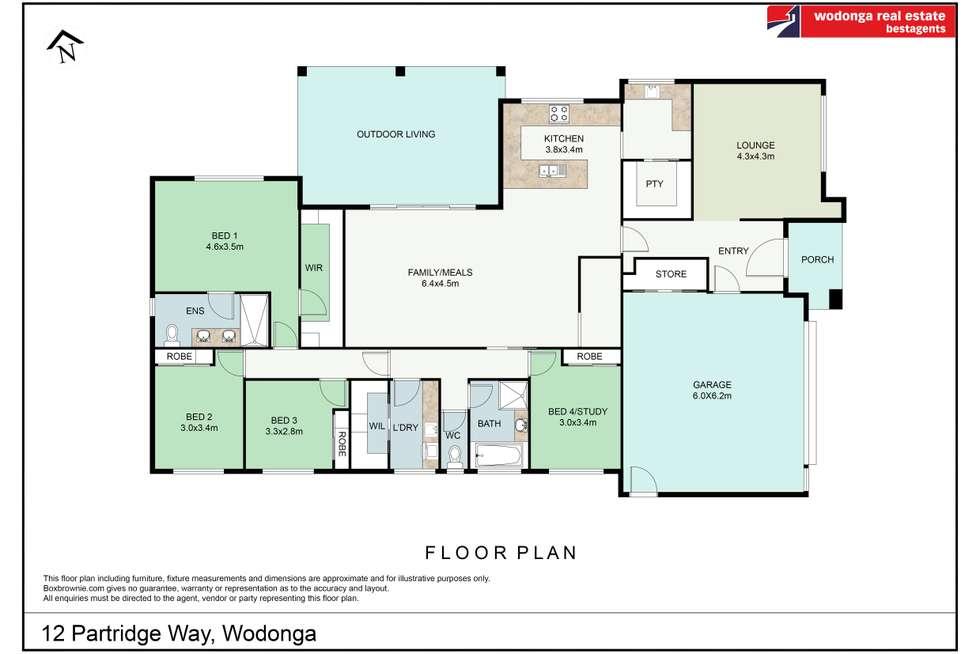 Floorplan of Homely house listing, 12 Partridge Way, Wodonga VIC 3690