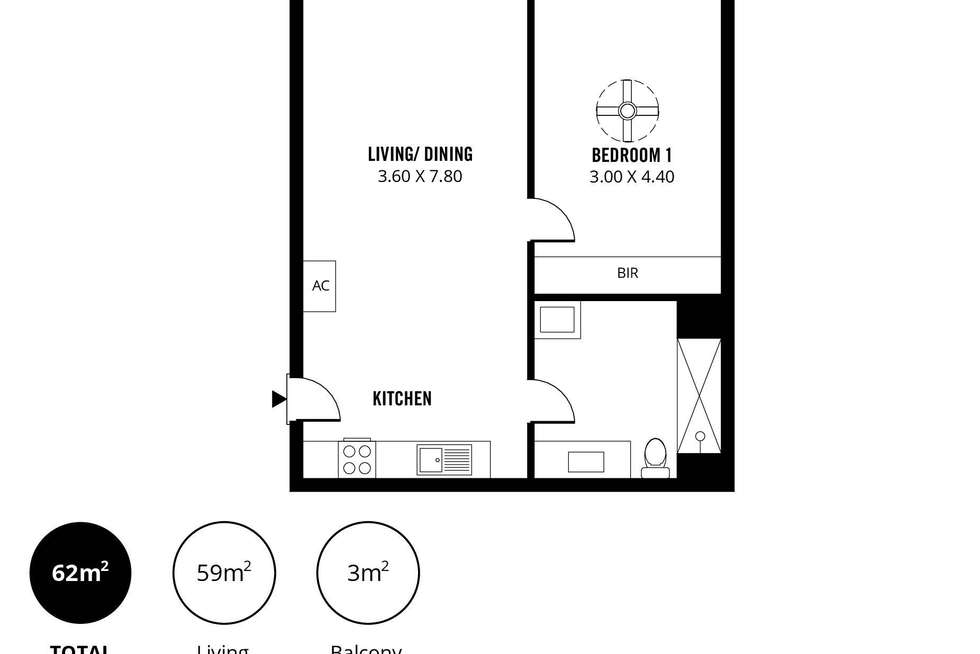 Floorplan of Homely apartment listing, 305/31 Frew Street, Adelaide SA 5000