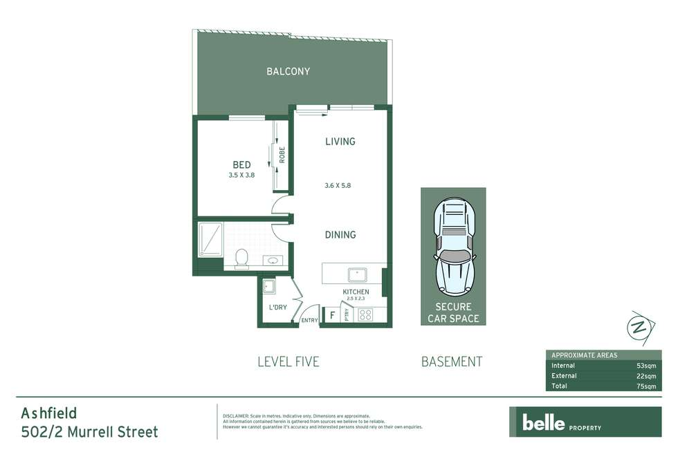 Floorplan of Homely apartment listing, 502/2 Murrell Street, Ashfield NSW 2131