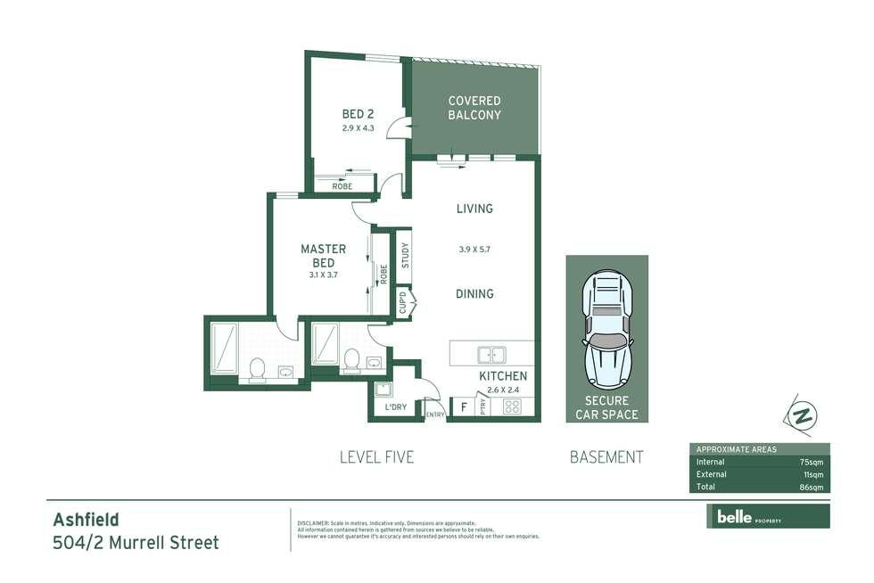 Floorplan of Homely apartment listing, 504/2 Murrell Street, Ashfield NSW 2131