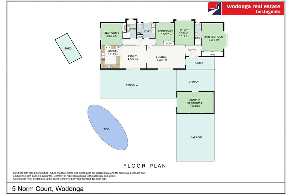 Floorplan of Homely house listing, 5 Norm Court, Wodonga VIC 3690