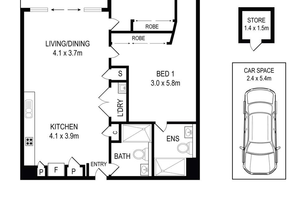 Floorplan of Homely apartment listing, 404/23 Archibald Avenue, Waterloo NSW 2017
