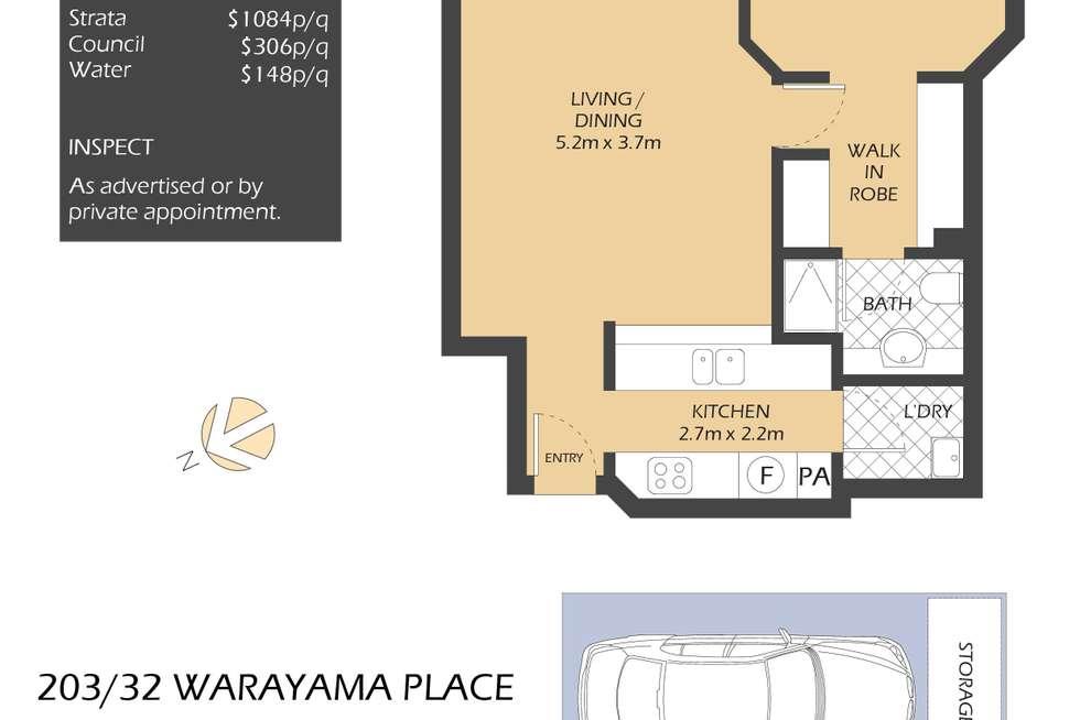 Floorplan of Homely apartment listing, 203/32 Warayama Place, Rozelle NSW 2039
