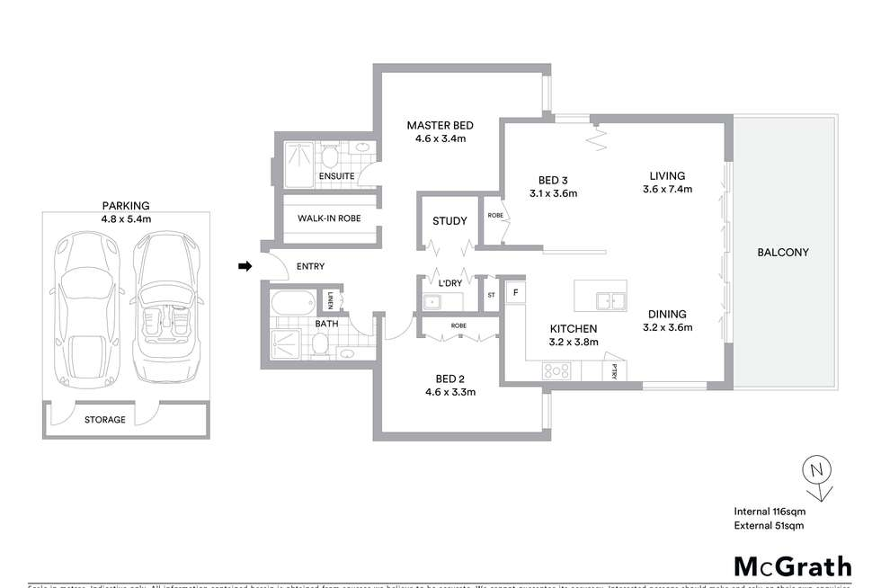 Floorplan of Homely apartment listing, 402/13 Lynn Avenue, Point Frederick NSW 2250