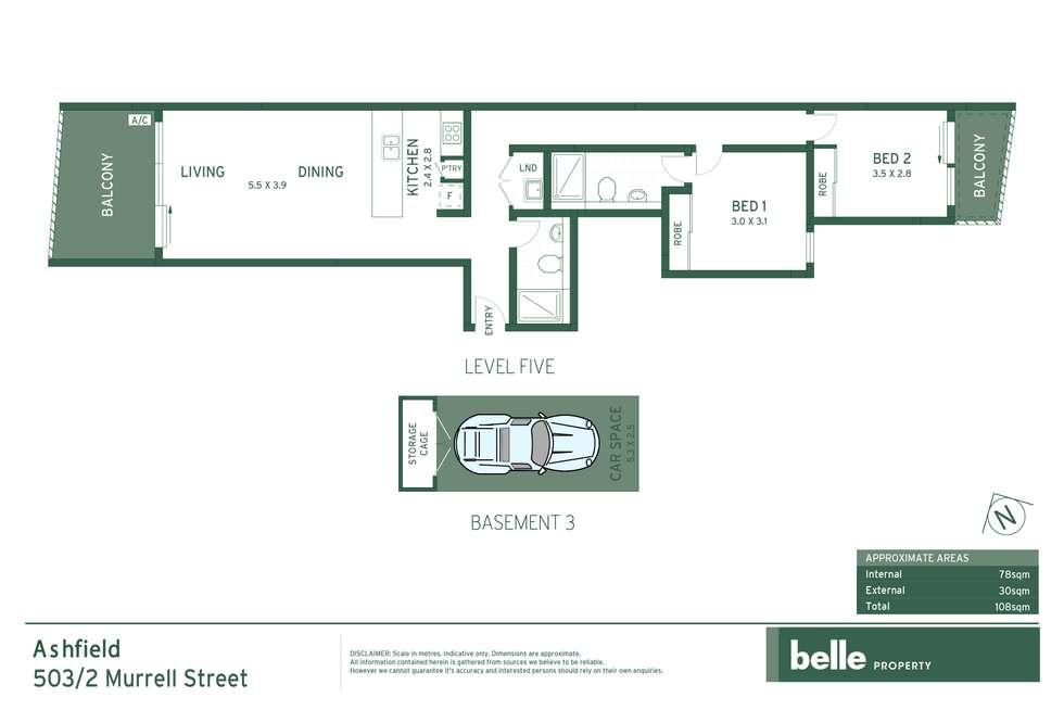 Floorplan of Homely apartment listing, 503/2 Murrell Street, Ashfield NSW 2131