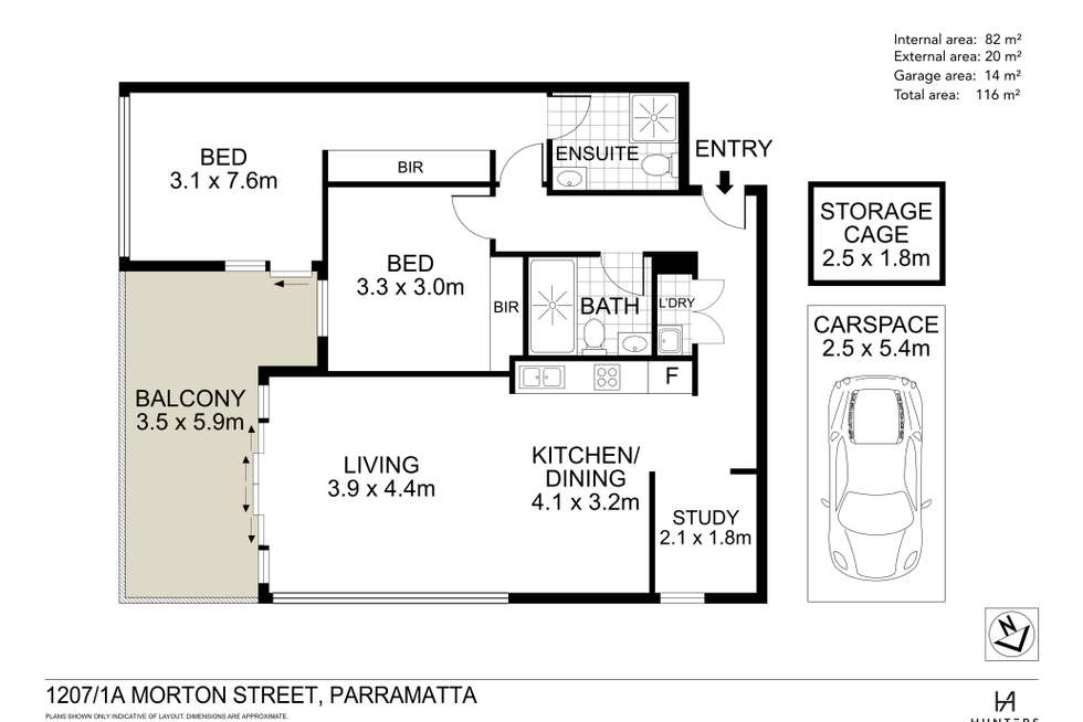 Floorplan of Homely apartment listing, 1207/1A Morton Street, Parramatta NSW 2150