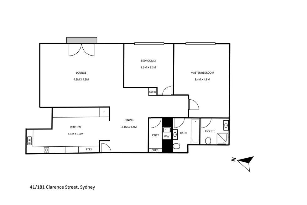 Floorplan of Homely apartment listing, 41/181 Clarence Street, Sydney NSW 2000
