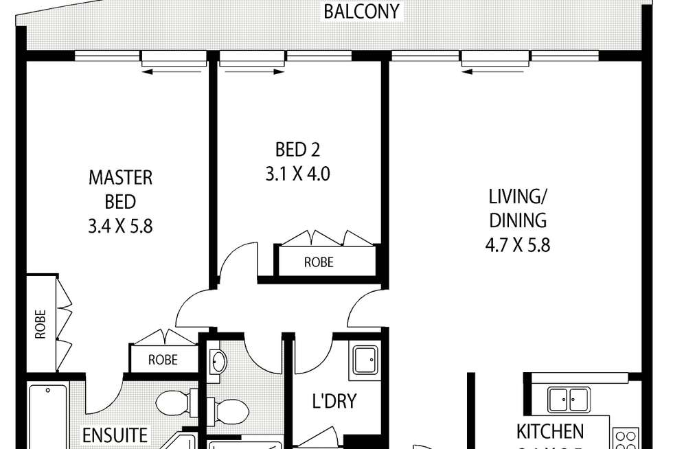 Floorplan of Homely apartment listing, 82/5 Macquarie Street, Sydney NSW 2000