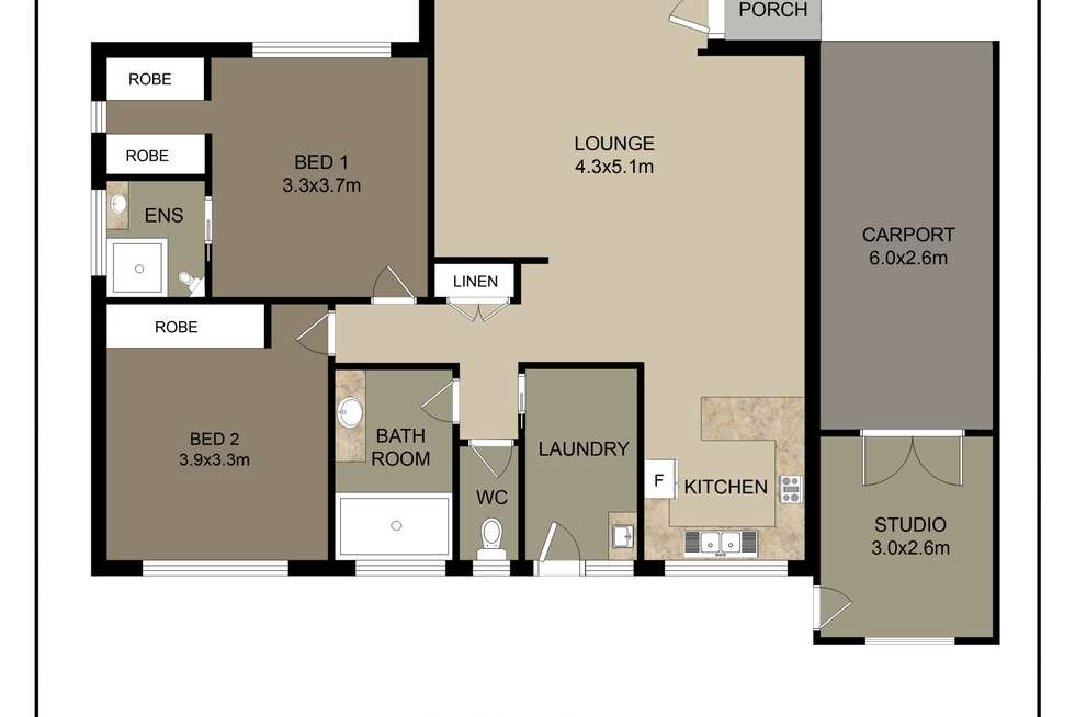 Floorplan of Homely unit listing, 1/1 Stott Court, Wodonga VIC 3690