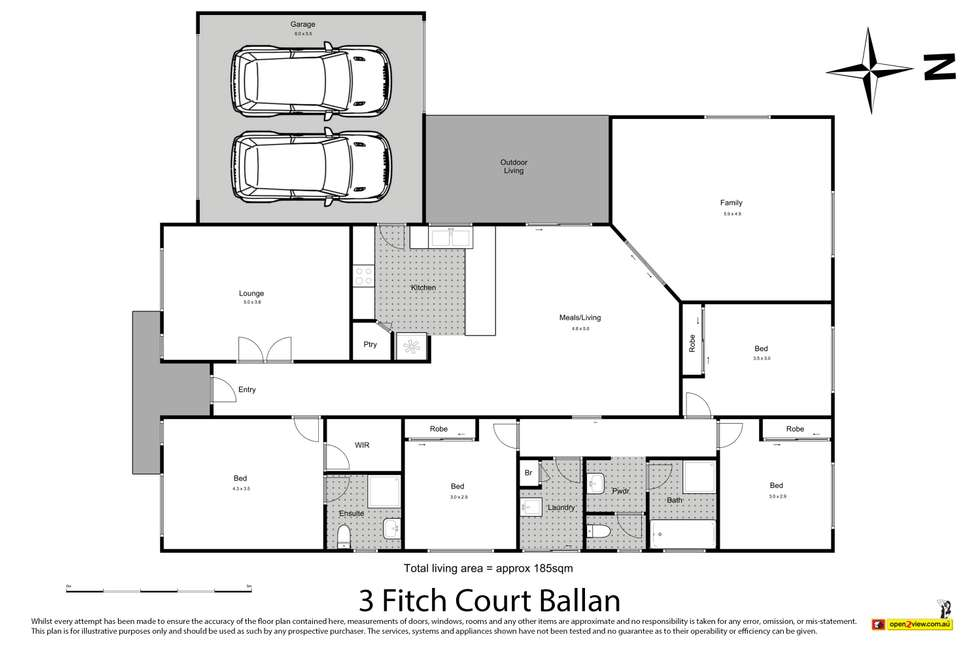 Floorplan of Homely house listing, 3 Fitch Court, Ballan VIC 3342